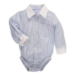 CBK Inspired Home Blue Stripe-White Collar Longsleeve Diaper Shirt - ER58463