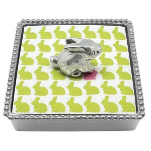 Mariposa Bunny Beaded Napkin Box