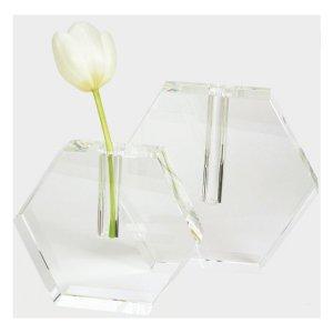 Tizo Design Hexagonal Flat Crystal Glass Vase PH480VAS PH482 VAS