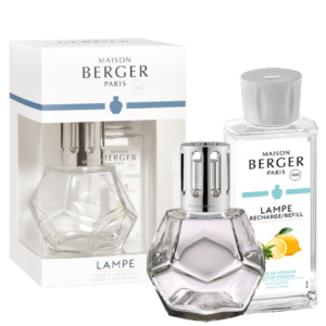 """Maison Berger Verbena <a href=""""https://lifestylesgiftware.com/product/geometry-clear-zest-of-verbena-lampe-gift-set-by-maison-berger/"""" target=""""_blank"""" rel=""""noopener noreferrer"""">Lampe Gift Set</a>"""