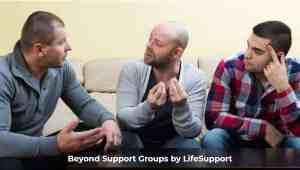 Group of men talking mental health strategy