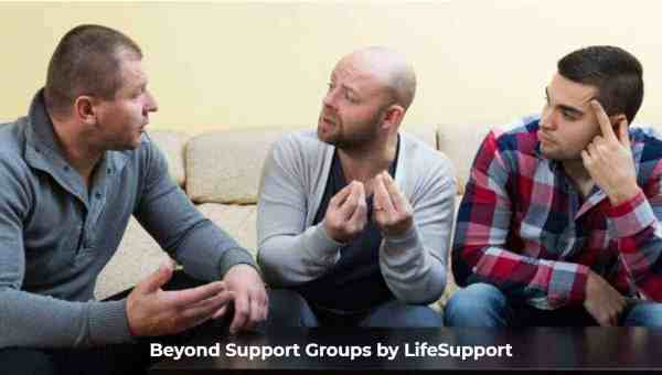 Group of men talking mental health strategy