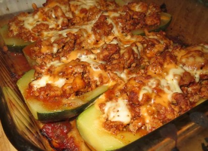 Zucchini boats fresh from the oven