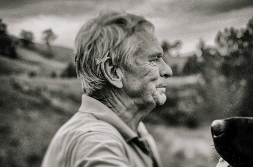 old man looking into the distance