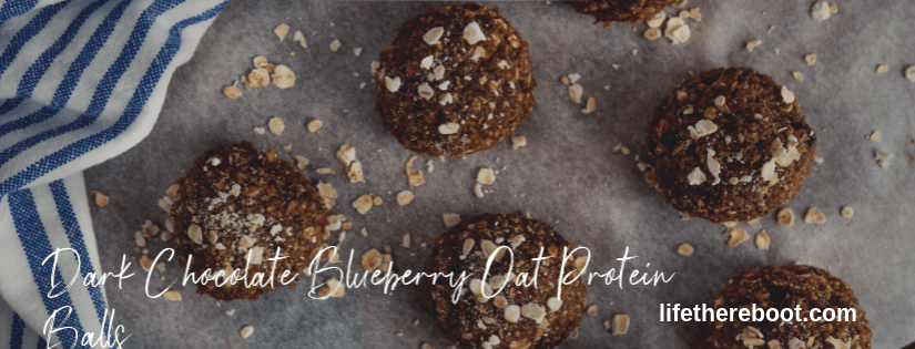dark chocolate blueberry oat protein balls