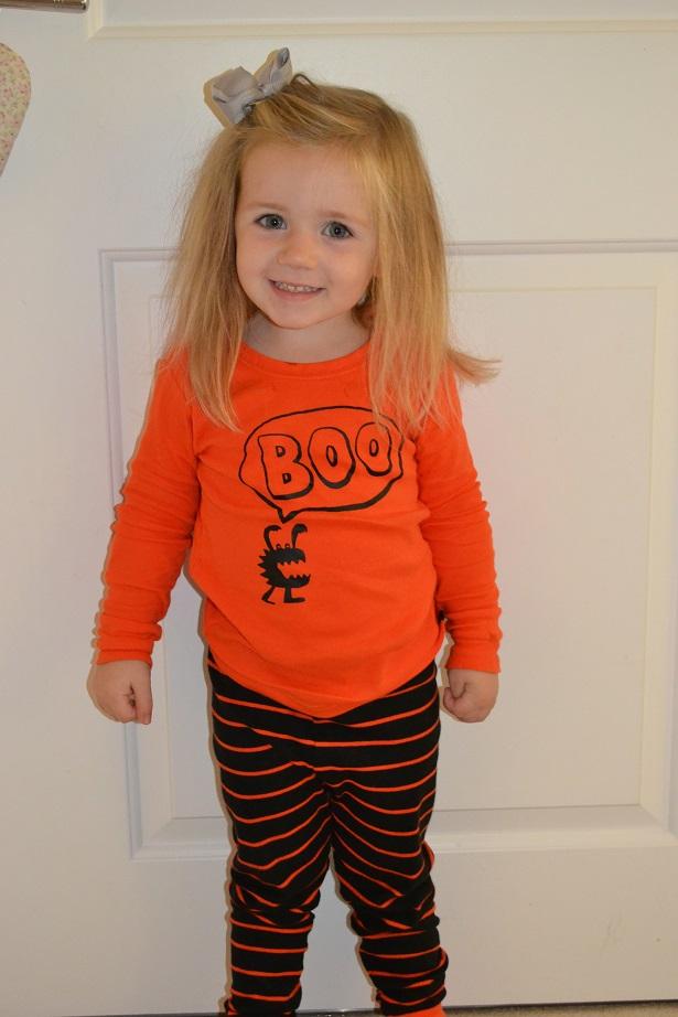P in her Baby Gap Halloween Pjs