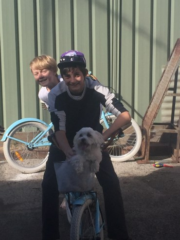 My nephew and son getting Chewy to be Toto from Wizard of Oz