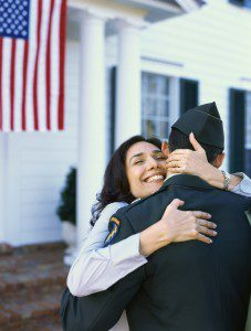 Military man is welcomed home by his wife