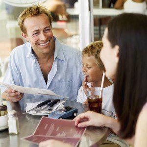 family enjoying dining in a restaurant