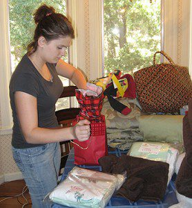 volunteer packing articles for a birth mom