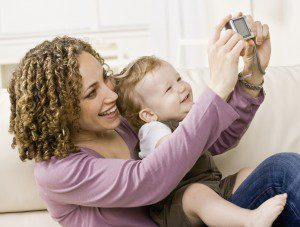 mom taking a selfie with her baby