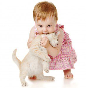 baby girl in pink dress plays with a kitten