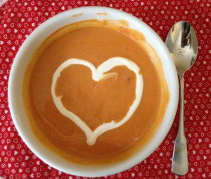 soup with a heart drawn in cream
