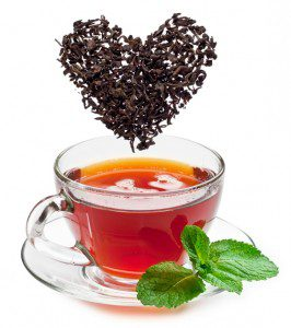 picture of a cup of peppermint tea with heart over top