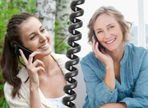 women talk together on phone
