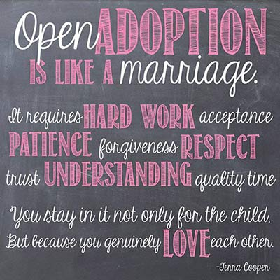 Graphic with Terra Cooper quote about open adoption