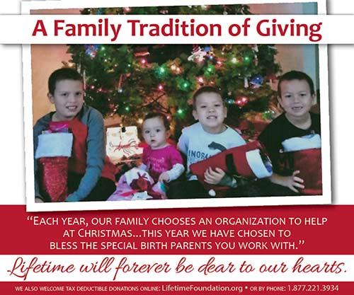 photo and back-story we received along with a donation of items to bless mothers choosing adoption