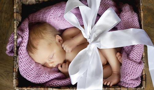 Newborn baby girl asleep in a basket, wrapped in a bow