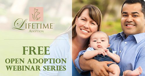 Graphic which reads 'Lifetime Adoption: FREE open adoption webinar series'