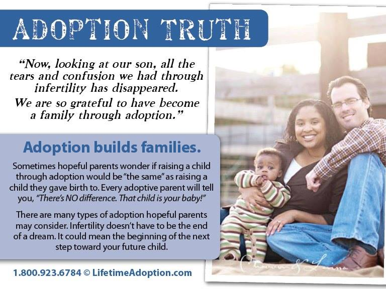 Adoption Truth graphic: adoption builds families