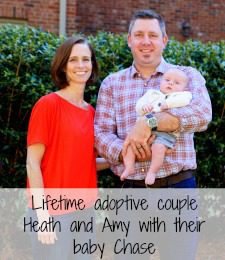 Lifetime adoptive couple Heath and Amy with their baby