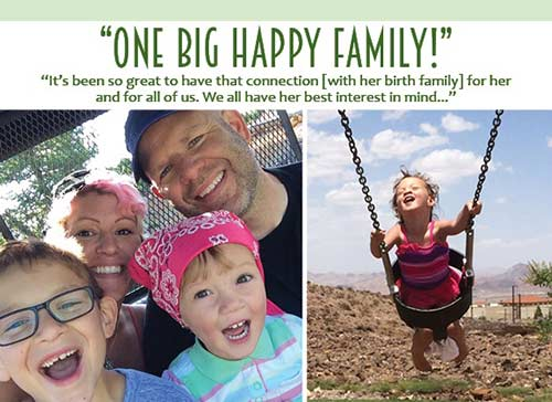 """Photo collage graphic which reads """"One big happy family: It's been so great to have that connection [with her birth family] for her and for all of us. We all have her best interest in mind"""""""