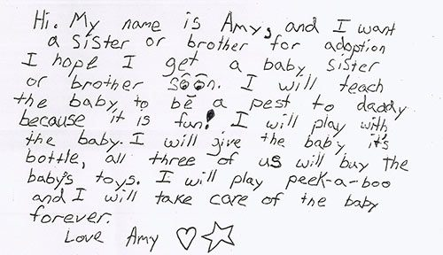A sweet note from an adoptive couple's daughter to birth mothers