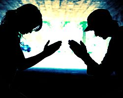 Two people praying together