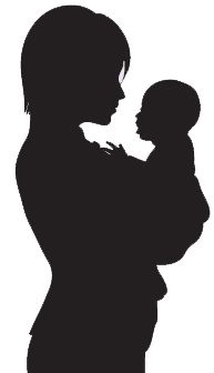 Graphic of a mother holding her baby in silhouette