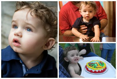 Photo collage of Craig and Ruth's son, who just turned one