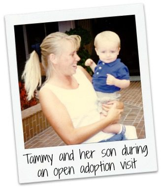 An old photo of Tammy and her son during an open adoption visit