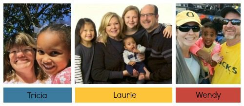 Photo collage of three adoptive mothers who adopted outside their race
