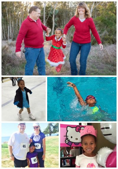 Photo collage of adoptive family Roger and Tricia