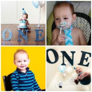 A collage of photos of Lawrence and Rhonda's son