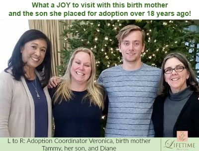 Diane with Lifetime birth mother Tammy, her son, and Adoption Coordinator Veronica