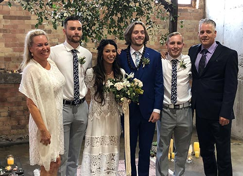 peer support counselor Tammy at her biological son's wedding