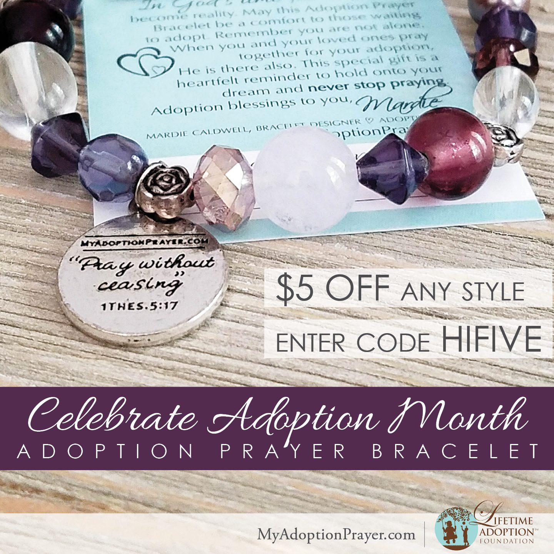 adoption month 5 dollars off bracelet