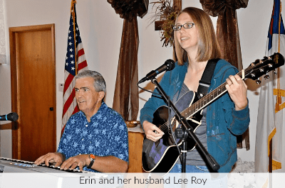 Erin with her husband Lee Roy, providing worship music at church