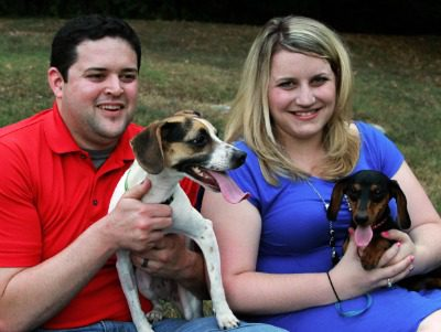 Colby and Sarah with their dogs