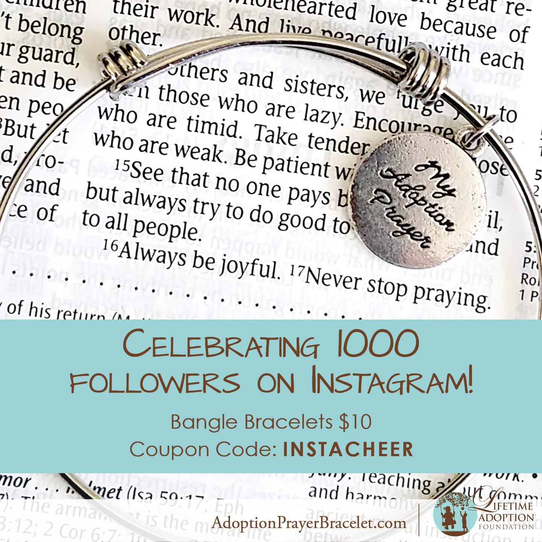 Get an Adoption Bangle Bracelet for $10 with our Instagram celebration sale!