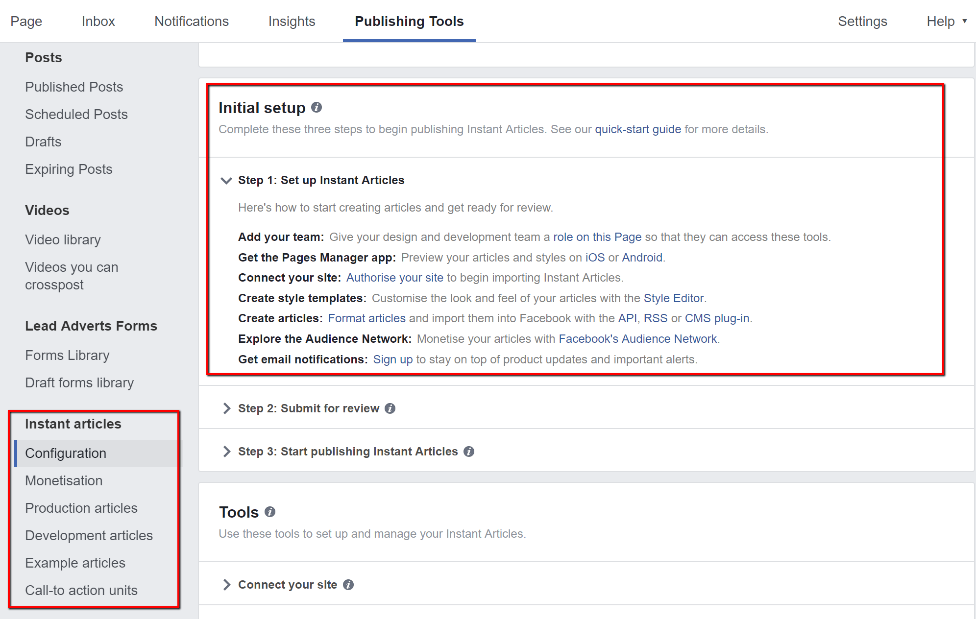Facebook instant articles configuration tools
