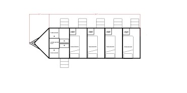 V-nose w/ 4 double bunk rooms & 2 shower rooms