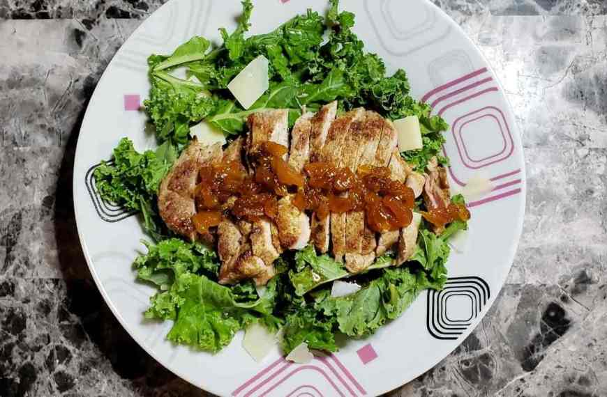 Spicy Pork Tenderloin with Apricot Chutney and Kale Salad