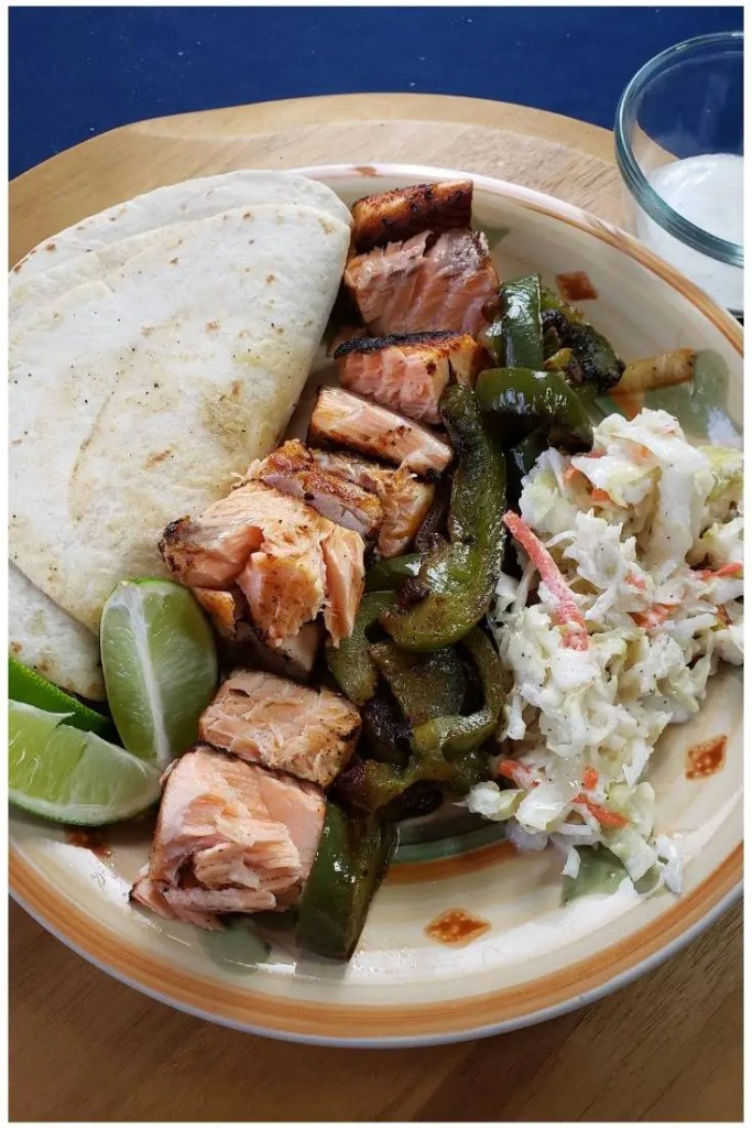 Salmon Fajitas with Peppers, Onions & Tangy Slaw