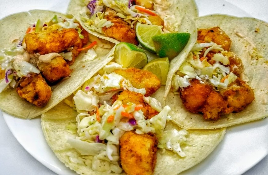 Fried Fish Tacos with Tangy Slaw & Sweet Potato Fries