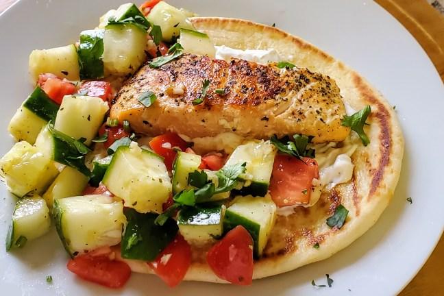 Greek Salmon Gyros with Chopped Salad