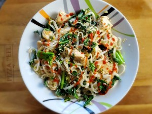 Black Bean Caramel Chicken with Rice Noodles