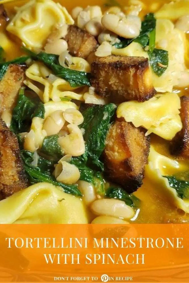 Tortellini Minestrone with Spinach and Garlicky Crouton