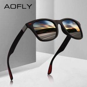 AOFLY new DESIGN ultra-light TR90 polarized sunglasses men women driving square Style sunglasses male glasses UV400 Gafas De Sol
