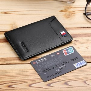 WILLIAMPOLO Mens Wallet Slim Business Card Credit Card Card Holder Purse Real Cowhide Men Fashion Casual Mini Card Bag Bifolds-in Wallets